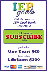 IEP Goals and Objectives, IEP Goal Bank